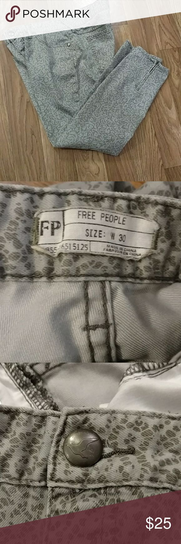 "Free People Jeans These are a a cool printed jean by Free People.  They are in really good condition and have zippers on each leg.  The inseam is 26"".  Bundle and save more! Free People Jeans"
