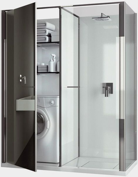 Bathroom with hidden laundry