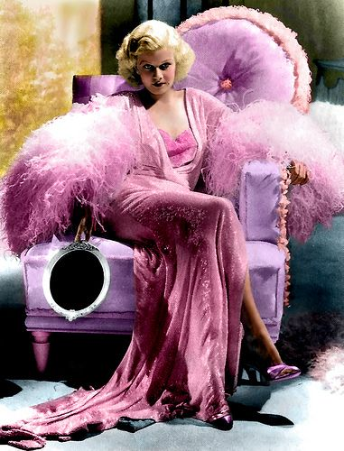 Jean Harlow in a pink peignoir.