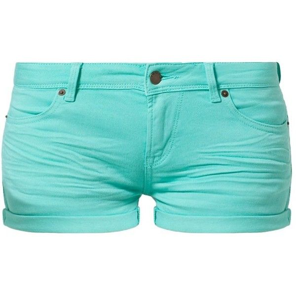 TWINTIP Denim shorts ($19) ❤ liked on Polyvore featuring shorts, bottoms, pants, short, mint, short shorts, mint green shorts, mint green jean shorts, jean shorts and cotton shorts