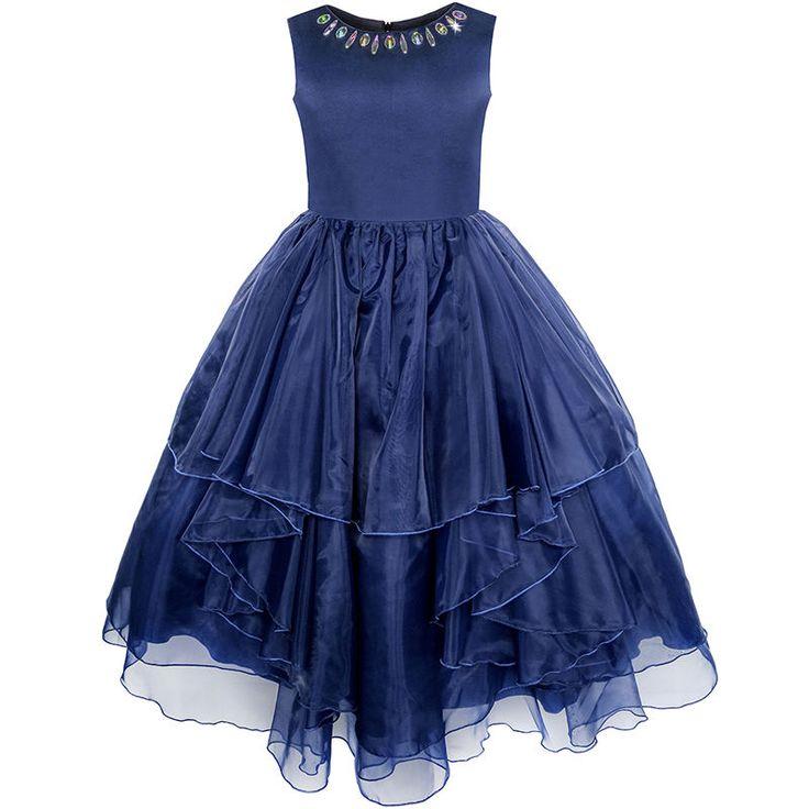Sunny Fashion Robe Fille Fleur Rhinestone Tulle Mariage Demoiselle D'honneur