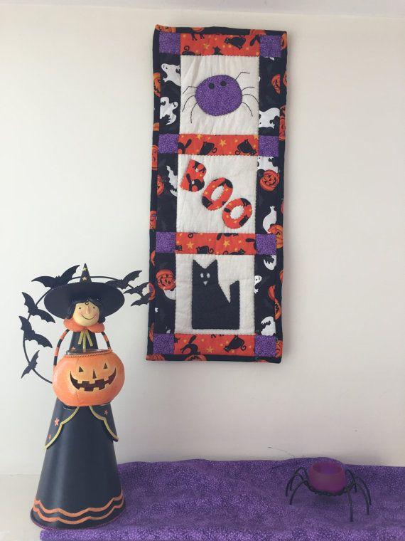 Quilt de Halloween con gato negro y araña por AngyHaus en Etsy