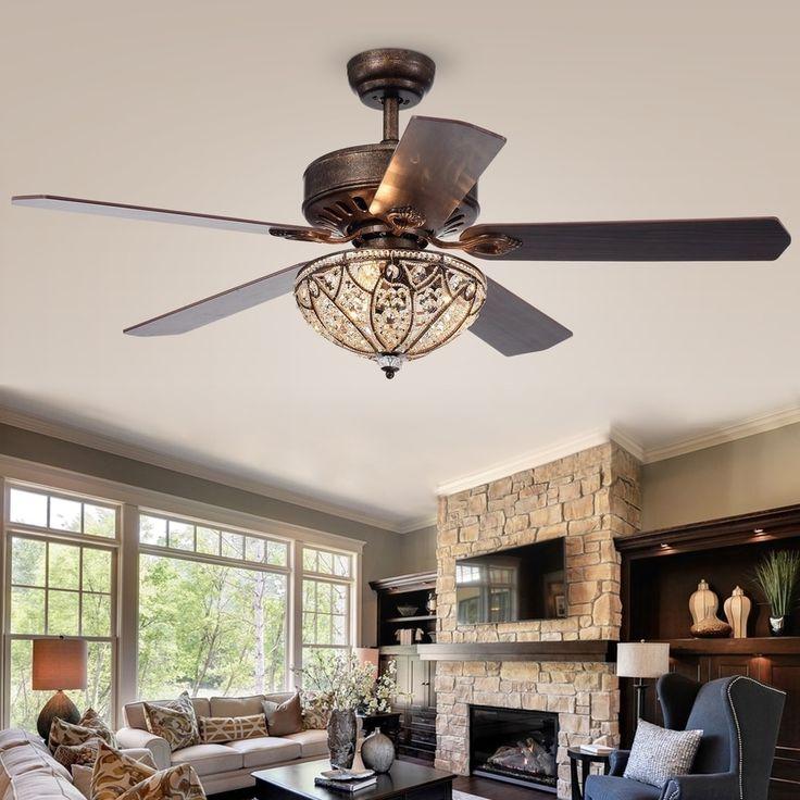 Gliska 52 Inch 5 Blade Rustic Bronze Lighted Ceiling Fans
