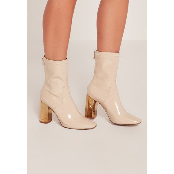 Missguided Patent Metallic Heel Ankle Boots ($68) ❤ liked on Polyvore featuring shoes, boots, ankle booties, nude, patent leather bootie, metallic boots, metallic booties, short boots and high heel ankle boots