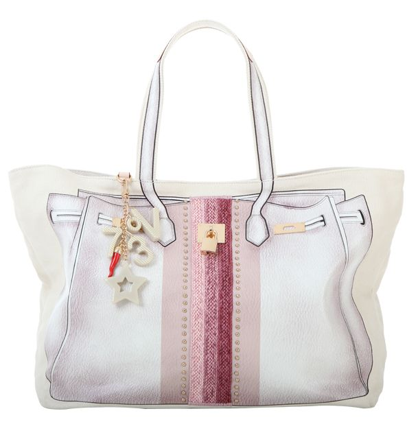 #V73 Bandes #Rafia #Bag White  #Shop online: https://www.v73.us/classic-icone/bandes-rafia-bag Concealed magnetic snap closure, PU printed pattern in both sides with raphia insert, Four internal patch pockets, Two internal zip pockets, Fully lined, Charm shown in photo included, Metal feet at the base, 100% COH: 35 cm W: 55 cm D:18 cm