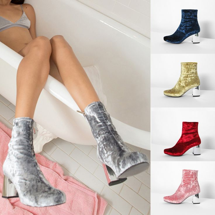 Cheap thick high heel shoes, Buy Quality boots brand directly from China  boots designer Suppliers: LALA IKAI Women Velvet Ankle Boots Pink Chunky  Dress Boot ...