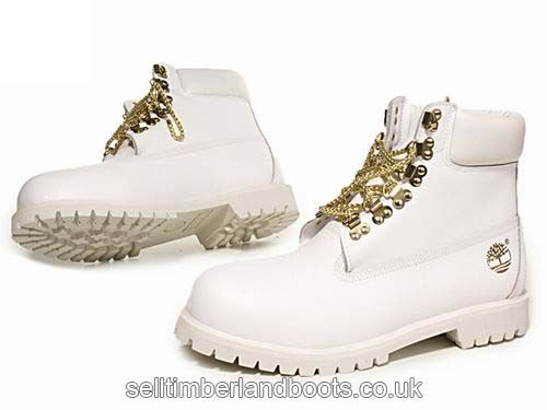 Timberland Women's Gold Chain Boots-White