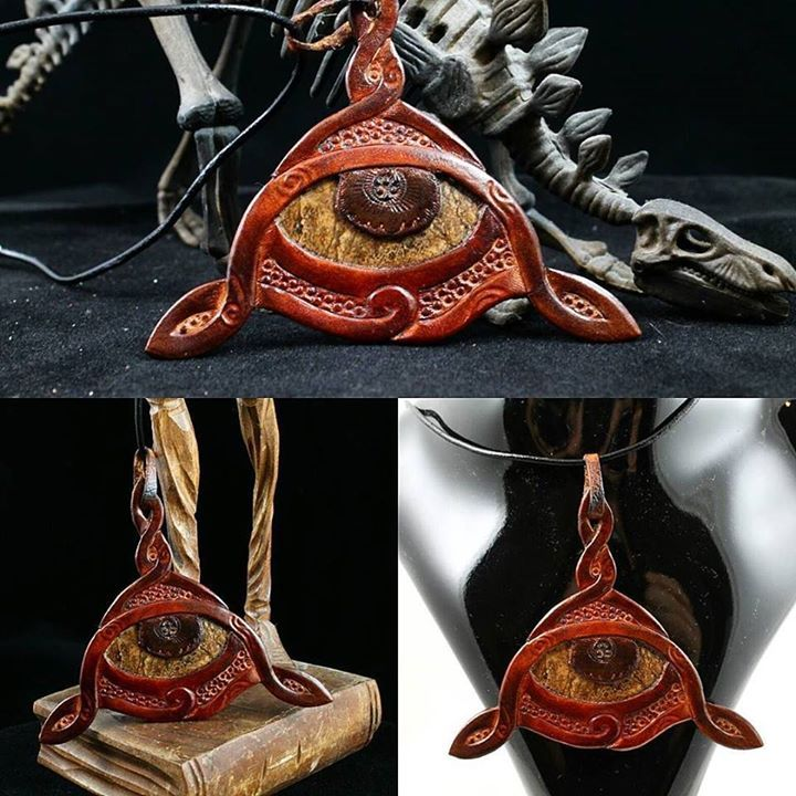"""THE EYE"" Pendant made with natural stone and hand tooled leather"