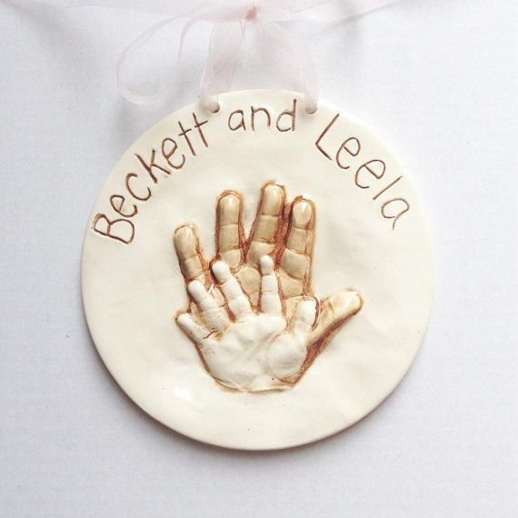 Sweet moments you will never get back, as these little ones continue to grow, so capture a moment in time of your babies now. A unique and one of a kind memento keepsake of siblings that will be cherished forever. I will send out a mold kit with directions, order form, fonts and borders. You and the kids can then create their handprints in a easy and clean soft clay mold. Once you are happy with the results just set out to dry and send back to me. I will then transfer to ceramic clay to be…