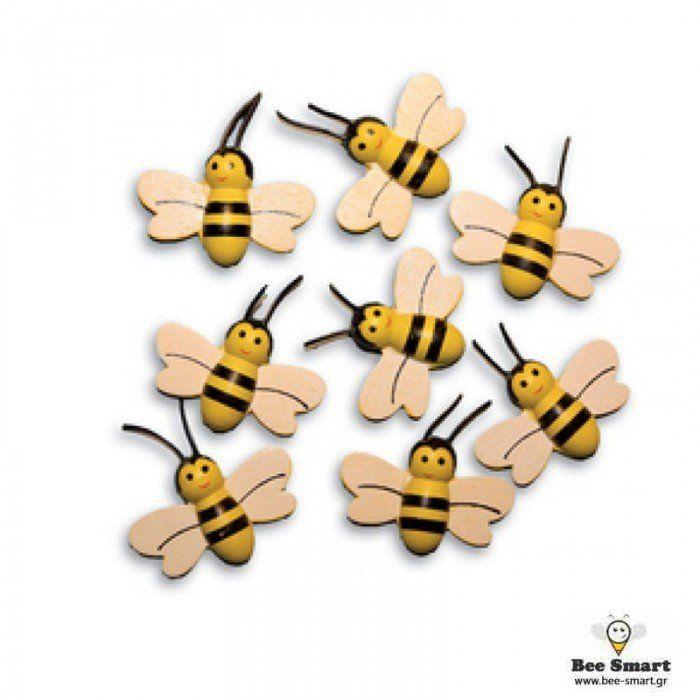 Μέλισσες διακοσμητικές ξύλινες - Μέλισσες διακοσμητικές ξύλινες με αυτοκολλητακι στο πισω μέρος.