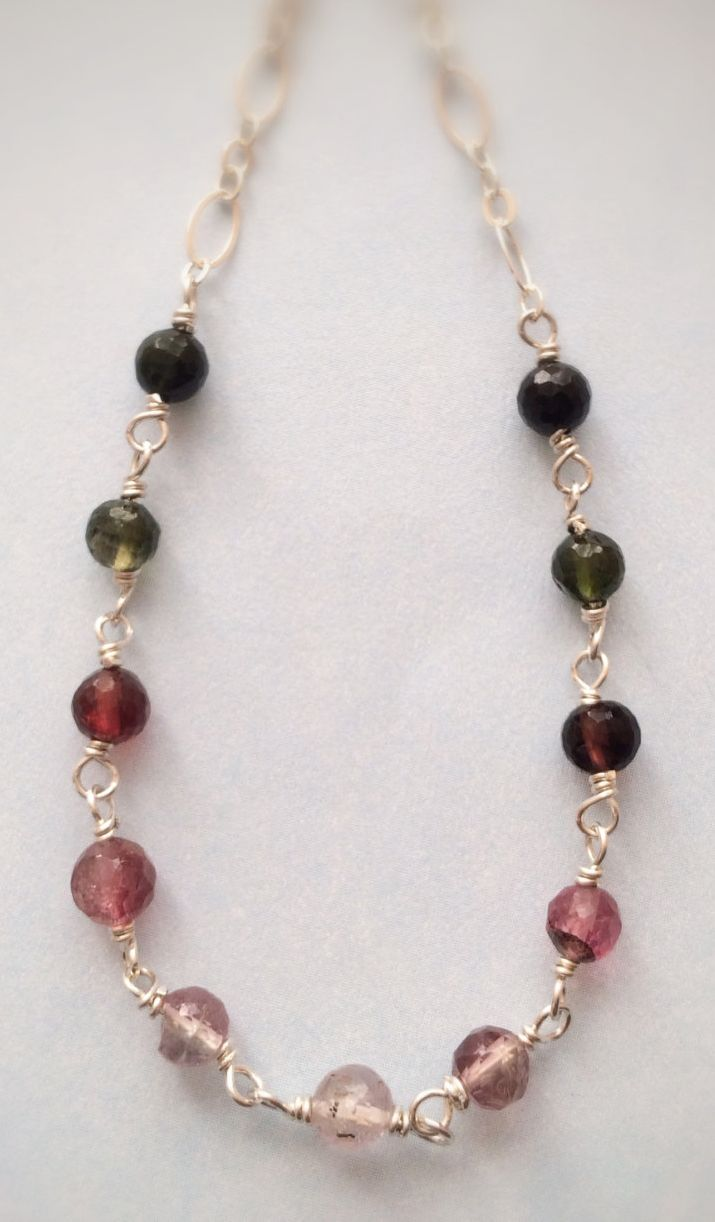 Faceted Watermelon Tourmaline Rounds Sterling