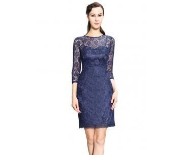Nette jurk met kanten overlaag in donkerblauw