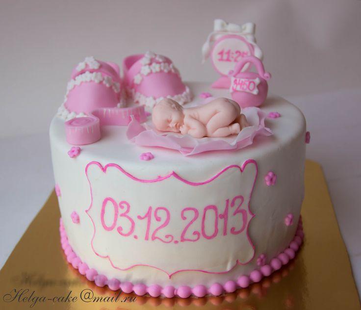 Нежный дизайн торта на годик,  рождение малыша, крещение