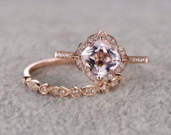 2pcs Morganite Bridal Ring SetEngagement ring Rose by popRing