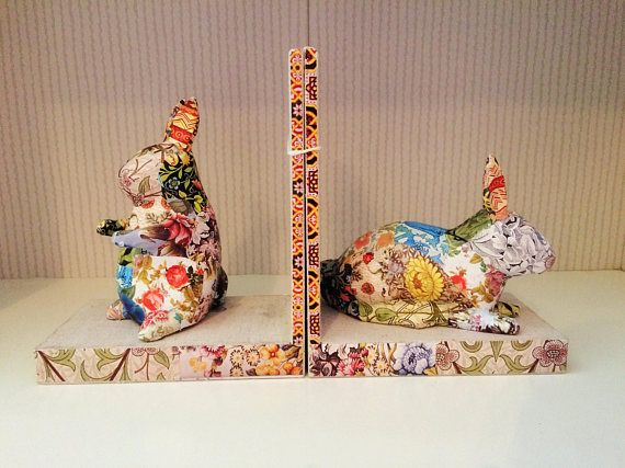 Hey, I found this really awesome Etsy listing at https://www.etsy.com/listing/521864986/decoupage-rabbit-bookends-handmade