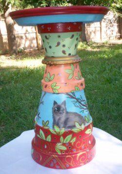 clay-pot-bird-bath-painted
