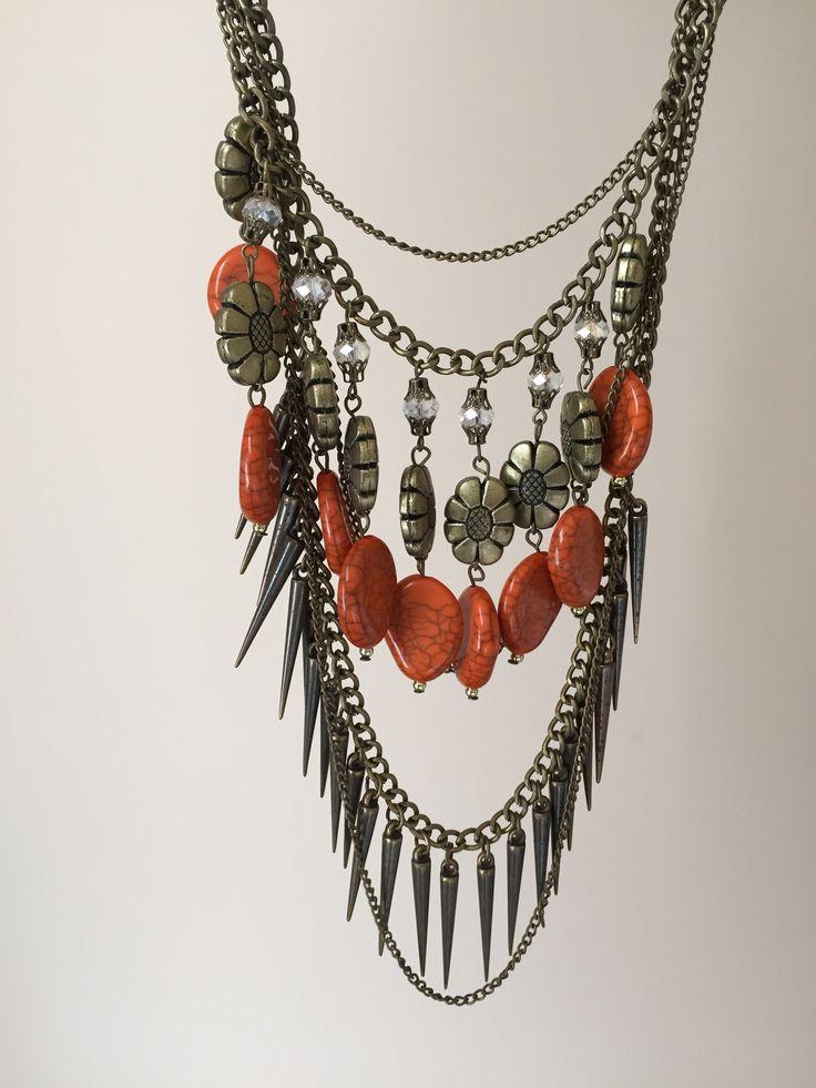 Orange Bead Spike Necklace