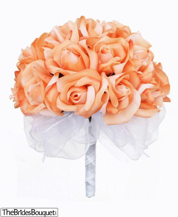 Peach Silk Rose Hand Tied Wedding Bouquet | 2 Dozen Silk Roses