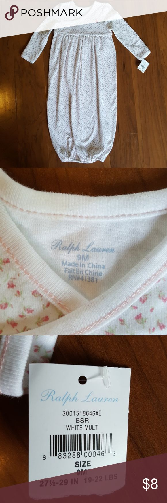 Ralph Lauren baby dressing gown tiny pink flowers Baby dressing gown with elastic at bottom small pink roses all over long sleeves with cuff Ralph Lauren Pajamas Nightgowns
