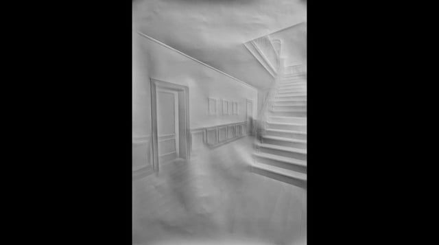 Cologne artist Simon Schubert creates intricate images of stately homes and palaces simply by folding plain white sheets of paper.    Folds in the surface create a relief of just a few millimetres, catching the light at different angles to create detailed pictures of architectural spaces.    The animation above comprises 100 sheets of paper folded to resemble a fictional old house that was constructed in a CAD program, assembled as though the viewer chases a ghostly figure – in reality a…