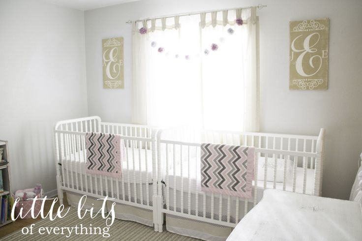 Bright and Neutral Twin Girl Nursery - love the sweet symmetry of this room! #nursery #twins: Nurseries Monograms, Twin Girl Nurseries, Girls Generation, Shabby Chic Nurseries, Twin Nurseries, Projects Nurseries, Twin Girls Nurseries, Nurseries Twin, Nurseries Ideas