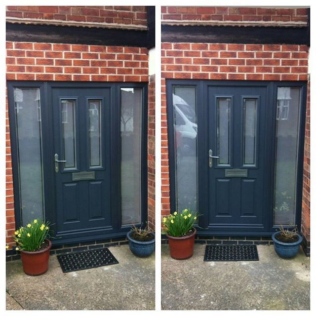 Solidor Ludlow composite door in Anthracite Grey, sandblasted glass with clear border. Telephone 01158 660066 http://thenottinghamwindowcompany.co.uk/ #handmade #traditional #hardware #door #solidor #composite #anthracite #grey #sandblasted #modern #TNWC #glass #Nottingham #Westbridgford