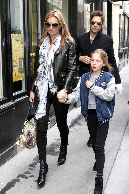 la modella mafia Kate Mosss in a Saint Laurent leather motorcycle jacket