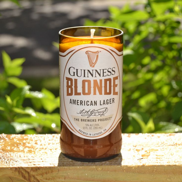 Guinness Blonde lager beer bottle candle made with soy wax by RedClayCandles on Etsy