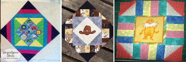 """Great use of """"novelty"""" fabrics for Cozy Afternoon Free Quilt pattern."""