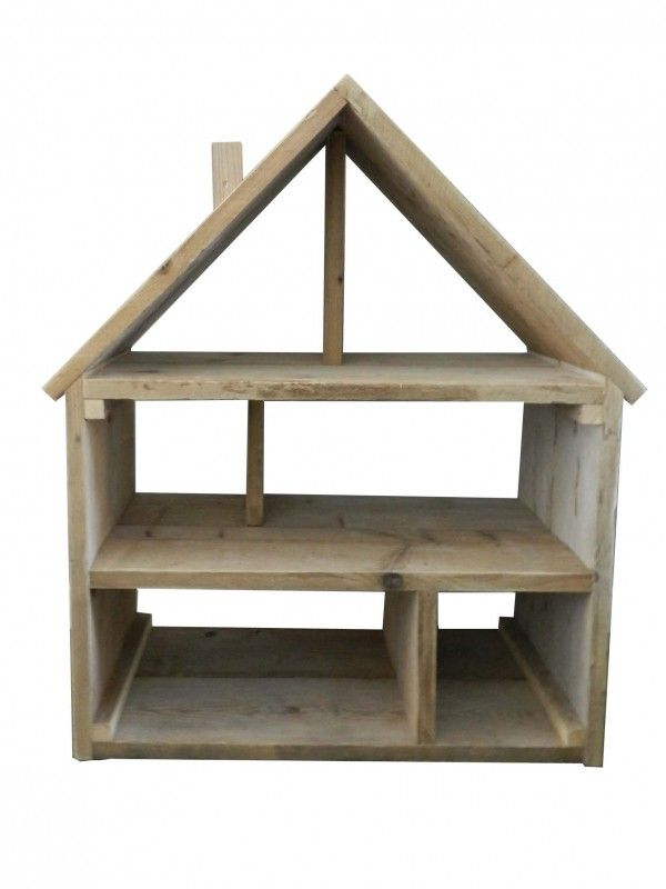 Steigerhout poppenhuis   Kindermeubels   Huis & Grietje Groot poppenhuis gemaakt van originele steigerhoutplanken.  Afmetingen: Hoogte 110 cm x Breedte 88 cm x Diepte 39 cm