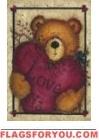 Valentine Bear Garden Flag