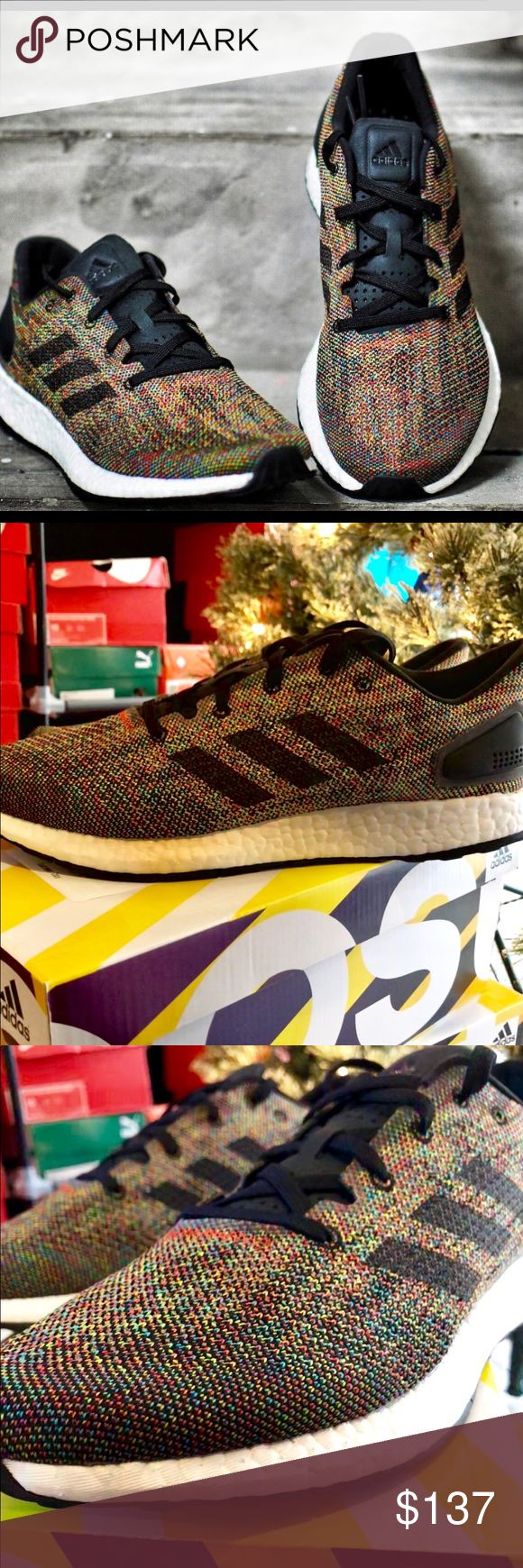 Adidas PureBOOST DPR LTD: MultiColor, DEADSTOCK🔥 Brand new with box, Adidas PureBOOST DPR Limited Edition. Currently stocked in Men's Sizes 9, 10, & 12. Adidas combination of performance and aesthetics here is a lot like Nike's Flyknit Racer or the Flyknit Streak. Great price so take advantage!!!  MSRP: $170 adidas Shoes Sneakers