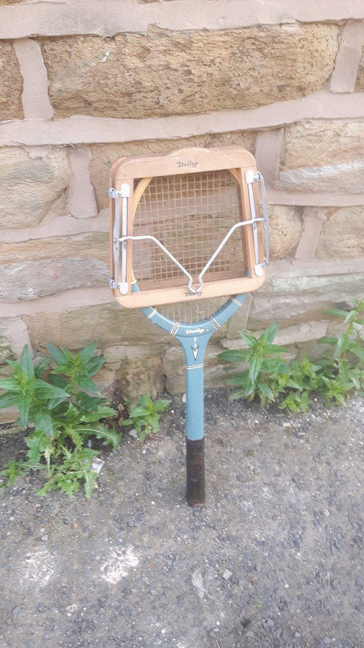 Vintage / Retro Wooden Tennis Racket Rackett Dunlop Match Point with Press Blue by LuxeandBear on Etsy