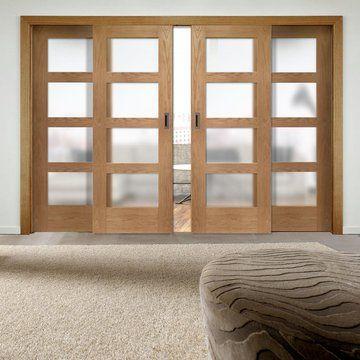 Easi-Slide OP1 Obscure Glazed Oak Shaker 4 Pane Sliding Door System in Four Size Widths