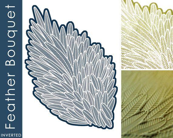 Mandarinente Textur Briefmarken - Feder Bouquet invertiert (für Polymer Clay, Papercrafts, Tinten, Porzellan, Silber Ton)