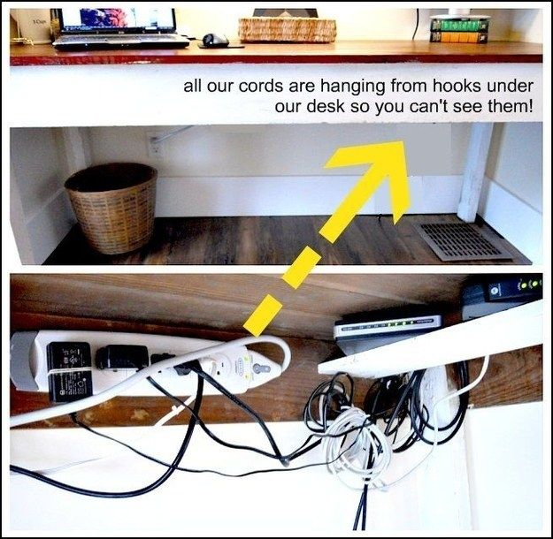 Mount a surge protector and coil up cords on hooks underneath a desk to fight visual cord clutter.   37 Ways To Disguise The Ugliest Parts Of Your Home