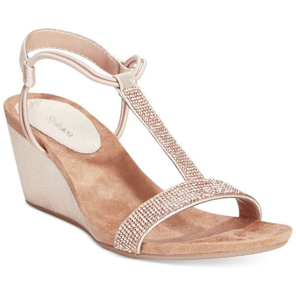 Style co mulan2 embellished evening wedge sandals and for Gold dress sandals for wedding