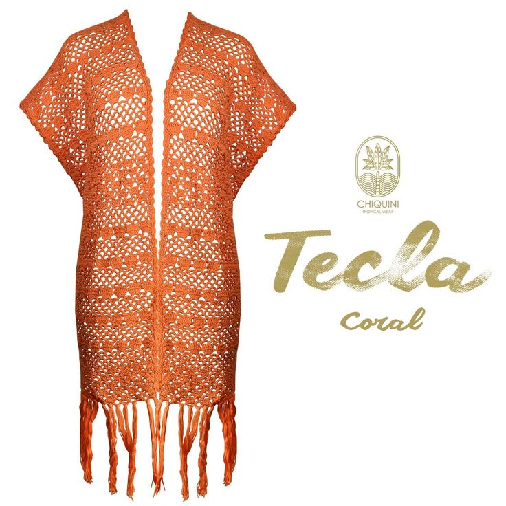 Tecla Coral Cover up  -  Hand Made crochet cover up