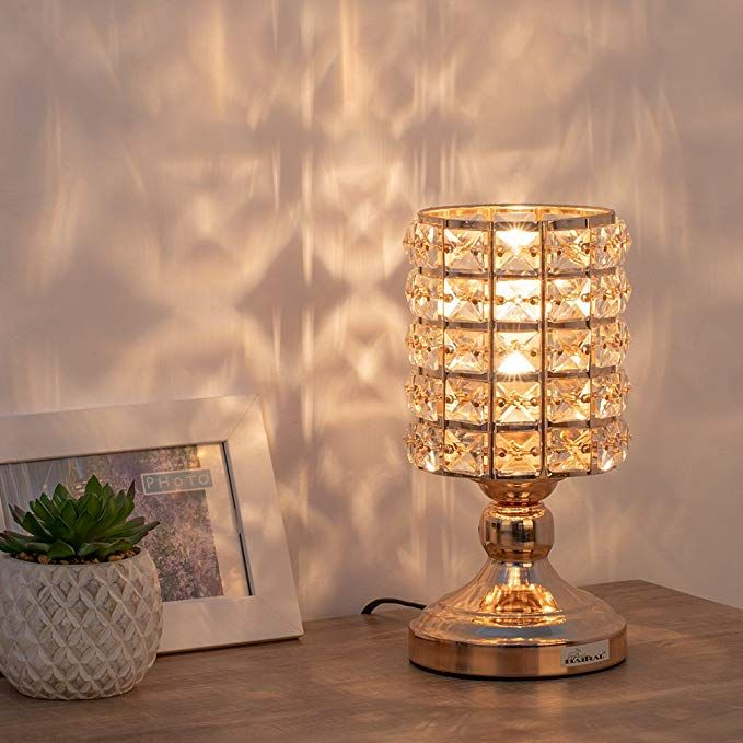 Haitral Gold Crystal Table Lamp Small Decorative Bedsides Lamp