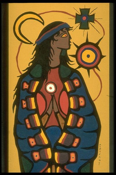 Virgin Mary, 1965  Gouache on Cardboard by Norval Morrisseau