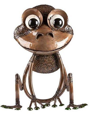 Earth De Fleur Homewares   Ribbet The Frog Brown U2013 Large Metal Garden  Sculpture