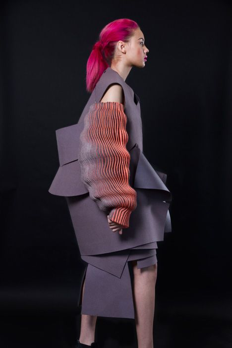 "Undulating sleeves create ""optical effect"" in Katherine Roberts-Wood's fashion collection."