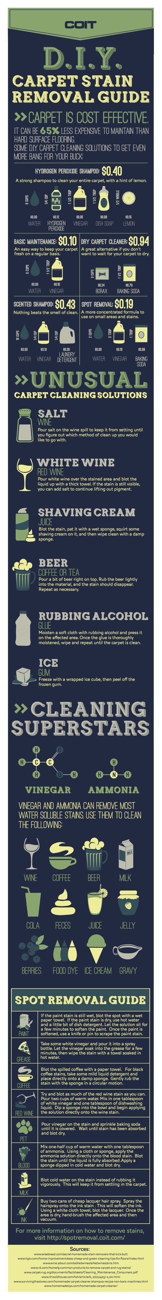 Many people are wondering which is more cost effective, carpet or hard surface flooring cleaning recipes and solutions? This DIY Carpet Stain Cleaner includes Recipes, Shampoo, Machines & For Pet Stains Infographic explains it all..