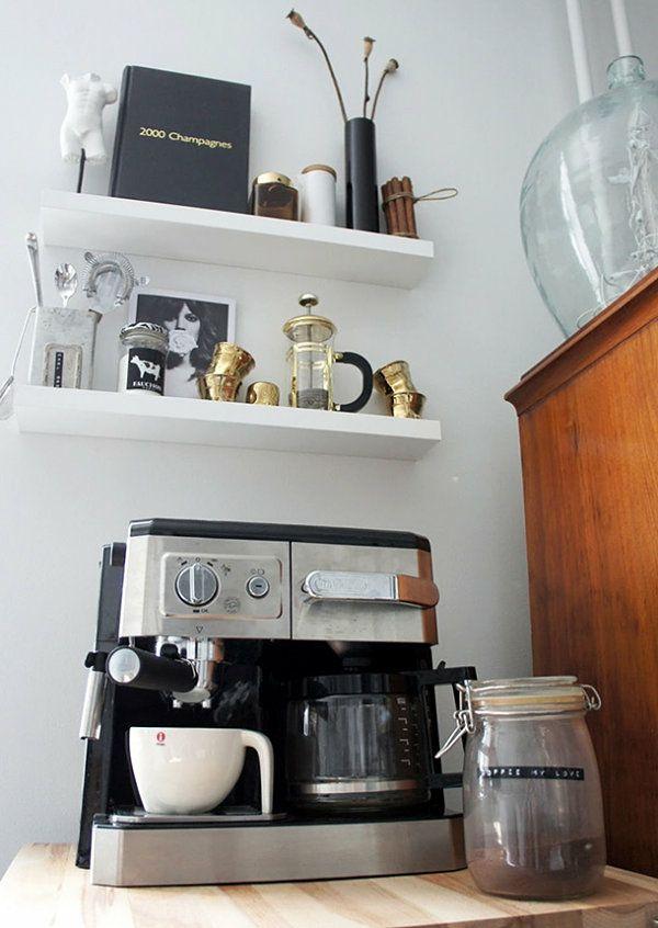 kaffeemaschine wandregal weiß