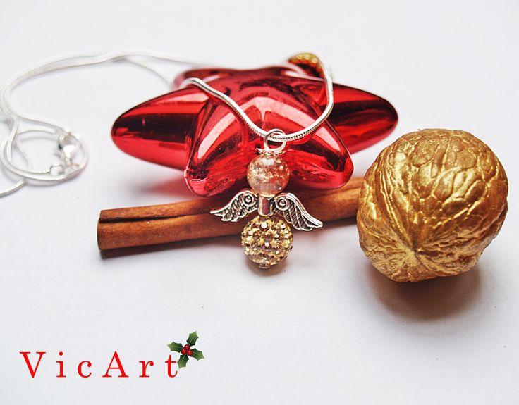 Kézműves csillogó angyalkás nyaklánc. Karácsonyi ajándékba. Még több ékszer: https://www.facebook.com/vicadrotekszerei