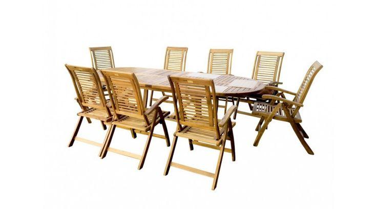 Ha nem is a kertben, akkor addig a teraszon! :D  🚬 🌅 🎁🍰  Royal Szett favázas ülőgarnitúra  Kemény akác fából készült, luxus kivitelben, nyolc egymásba pakolható székből (rakásolható) és egy összecsukható asztalból álló kerti bútor szett. Használható kerti fedett helyeken és beltérben. A fa természetes anyag. Az ábrázolástól eltérő szín a fa természetes tulajdonságaiból adódik.