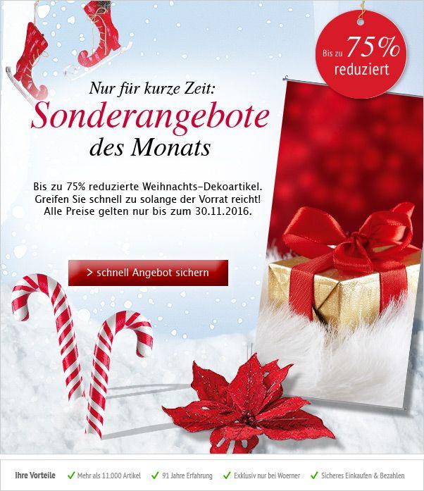 Im November erwarten Euch viele tolle #Sonderangebote aus den Bereichen #Weihnachtsdeko & #Winterdeko, bis zu 75% #reduziert. Greifen Sie schnell zu solange der Vorrat reicht! #Deko #Dekoration http://shop.decowoerner.com/cgi-bin/WebObjects/XSeMIPS.woa/cms/page/locale.deDE/pid.4786/mlid.2031/NL-2016-11-08-AdM-AI.html