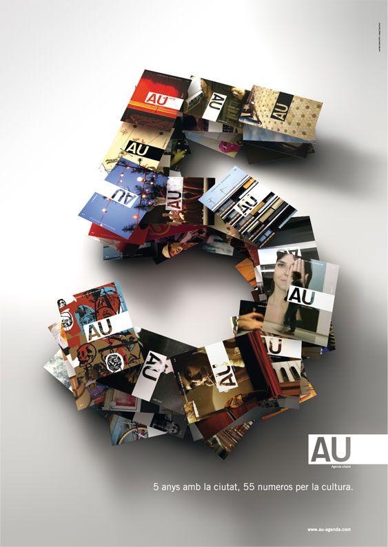 Cartel 5º aniversario revista AU agenda urbana, de Juan Nava