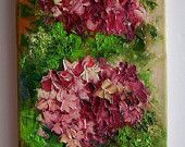 Items similar to Hydrangea Original Oil Painting Impasto Textured art Pink Purple Hortensia Palette knife art Europe Artist Impression Garden flowers bouquet on Etsy