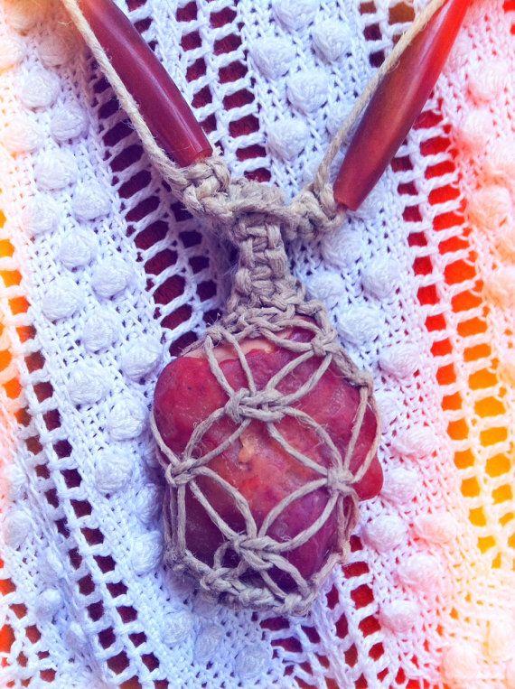 Beautiful Hemp Wrapped Agate Necklace